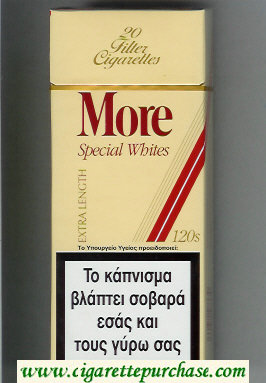 More Special Whites yellow and red 120s cigarettes hard box