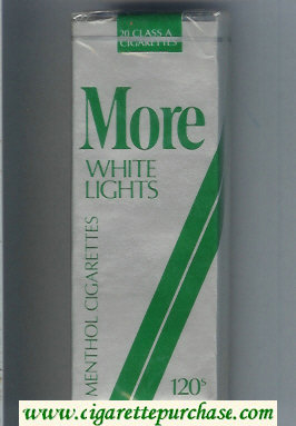 Discount More White Lights Menthol grey and green 120s cigarettes soft box