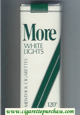 Discount More White Lights Menthol white and green 120s cigarettes soft box