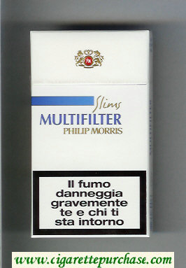 Multifilter Philip Morris Slims 100s white and blue cigarettes hard box