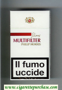 Multifilter Philip Morris Slims 100s white and red cigarettes hard box