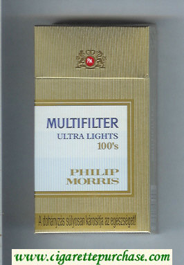 Multifilter Philip Morris Ultra Lights 100s cigarettes hard box