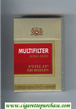 Multifilter Philip Morris gold and red cigarettes hard box