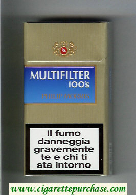Multifilter Philip Morris gold and blue 100s cigarettes hard box