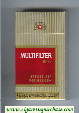 Multifilter Philip Morris gold and red 100s cigarettes hard box