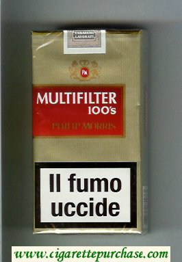 Multifilter Philip Morris gold and red 100s cigarettes soft box