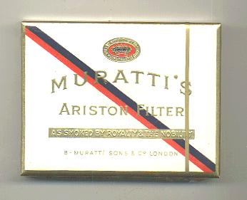 Muratti's Ariston Filter cigarettes wide flat hard box