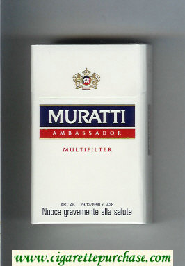 Muratti Ambassador Multifilter white and blue and red cigarettes hard box