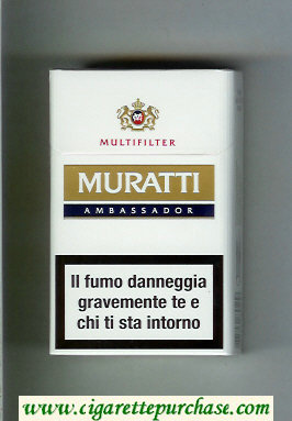 Discount Muratti Ambassador Multifilter white and gold and blue cigarettes hard box