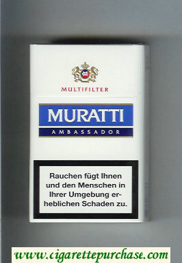 Discount Muratti Ambassador Multifilter white and light blue and blue cigarettes hard box