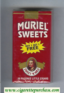 Muriel Sweets Little Cigars Sweet'n Mild 100s cigarettes soft box