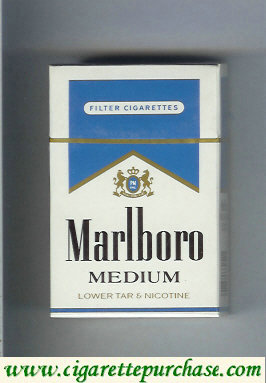 Discount Marlboro Medium white and blue cigarettes hard box