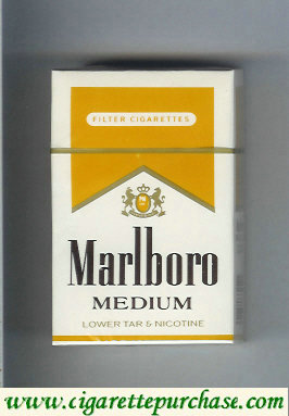 Marlboro Medium white and yellow cigarettes hard box