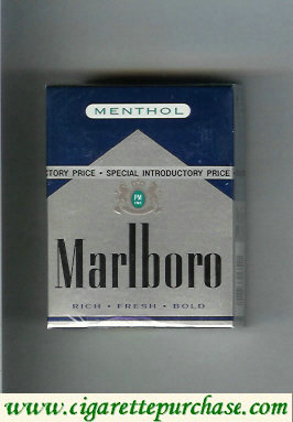 Marlboro Menthol silver and blue cigarettes hard box