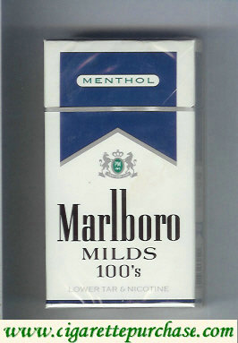 Discount Marlboro Milds Menthol white and blue 100s cigarettes hard box