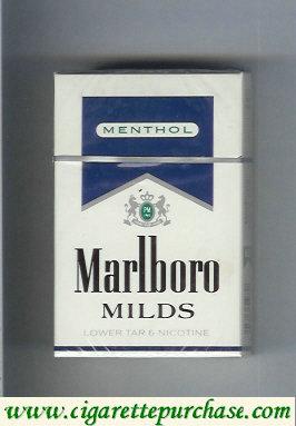 Discount Marlboro Milds Menthol white and blue cigarettes hard box