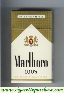 Marlboro gold and white 100s cigarettes hard box
