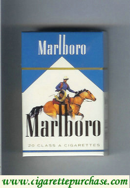 Discount Marlboro with cowboy on horse white and blue cigarettes hard box