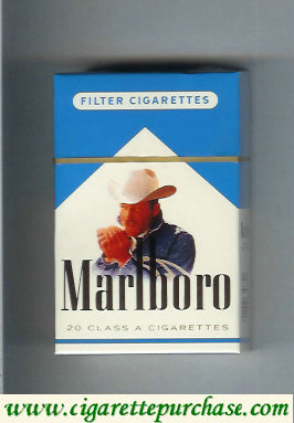 Marlboro with cowboy with cigarette white and blue cigarettes hard box