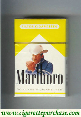 Discount Marlboro with cowboy with cigarette white and yellow cigarettes hard box