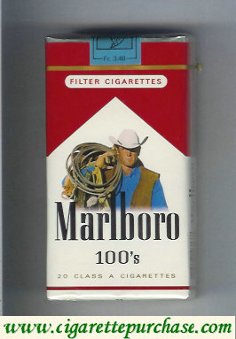 Discount Marlboro with cowboy with lasso on the upper arm 100s cigarettes soft box