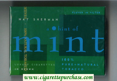 Discount Nat Sherman A Hint of Mint Flavor in Filter cigarettes wide flat hard box