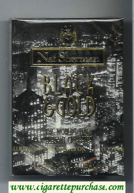Discount Nat Sherman Blach and Gold 100s cigarettes wide flat hard box