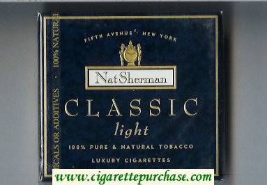Discount Nat Sherman Classic Light cigarettes wide flat hard box