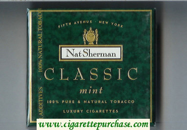 Discount Nat Sherman Classic Mint cigarettes wide flat hard box