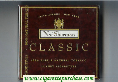 Discount Nat Sherman Classic brown cigarettes wide flat hard box