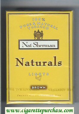 Discount Nat Sherman Naturals Lights Brown 100s yellow cigarettes wide flat hard box