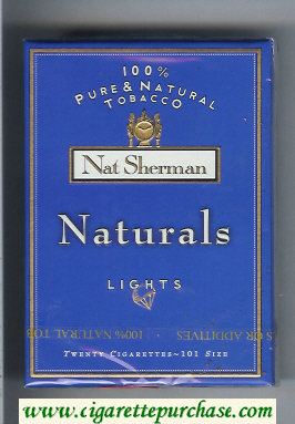 Discount Nat Sherman Naturals Lights 100s blue cigarettes wide flat hard box
