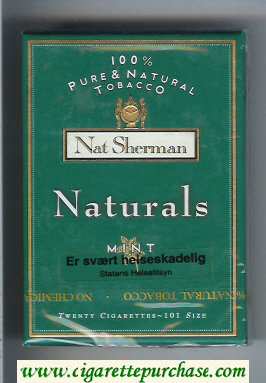 Discount Nat Sherman Naturals Mint 100s green cigarettes wide flat hard box
