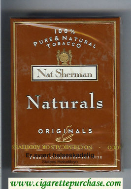 Discount Nat Sherman Naturals Originals 100s brown cigarettes wide flat hard box