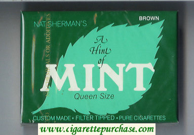 Discount Nat Sherman's A Hint of Mint Brown cigarettes wide flat hard box