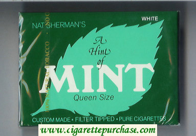 Nat Sherman's A Hint of Mint White cigarettes wide flat hard box
