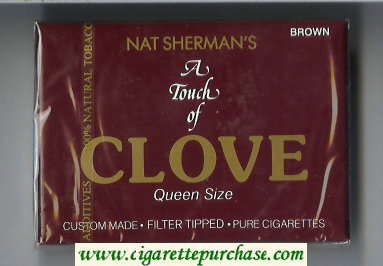 Nat Sherman's A Touch of Clove Brown cigarettes wide flat hard box