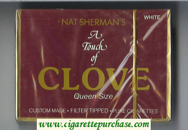 Nat Sherman's A Touch of Clove White cigarettes wide flat hard box