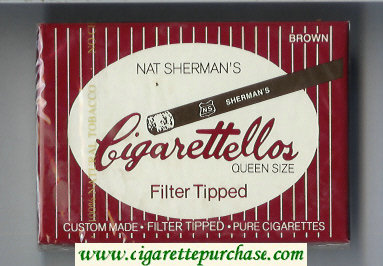 Nat Sherman's Cigarettellos Filter Tipped Brown cigarettes wide flat hard box