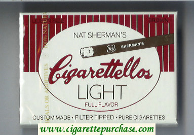 Discount Nat Sherman's Cigarettellos Light Full Flavor Brown cigarettes wide flat hard box