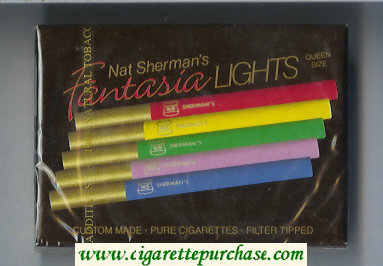 Discount Nat Sherman's Fantasia Lights cigarettes wide flat hard box
