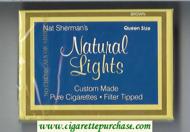 Discount Nat Sherman's Natural Lights Brown cigarettes wide flat hard box