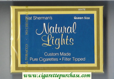 Discount Nat Sherman's Natural Lights White cigarettes wide flat hard box