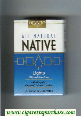 Discount Native All Natural Lights 100 percent Additive-Free cigarettes soft box