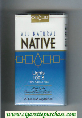 Discount Native All Natural Lights 100s 100 percent Additive-Free cigarettes soft box