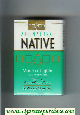 Discount Native All Natural Menthol Lights 100 percent Additive-Free cigarettes soft box
