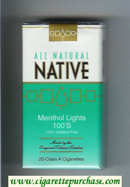 Discount Native All Natural Menthol Lights 100s 100 percent Additive-Free cigarettes soft box