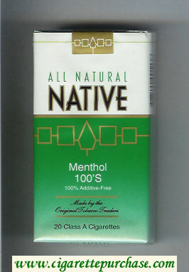 Discount Native All Natural Menthol 100s 100 percent Additive-Free cigarettes soft box