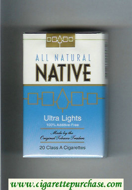 Discount Native All Natural Ultra Lights 100 percent Additive-Free cigarettes soft box