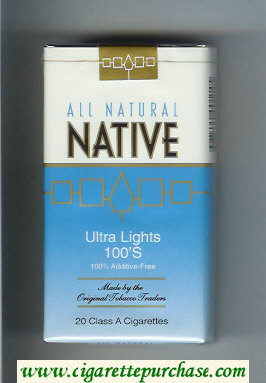 Discount Native All Natural Ultra Lights 100s 100 percent Additive-Free cigarettes soft box